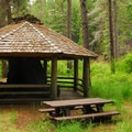 1930s Civilian Conservation Corps picnic shelter.- Pioneer Ford Campground