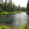 The Metolius River looking south from Lower Bridge Campground.- Lower Bridge Campground