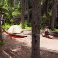 A campsite situated right next to the creek.- Fifteen Mile Campground