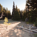 A backcountry campsite.- Oval Lake + Palisade Point via Lookout Mountain/Divide Trail