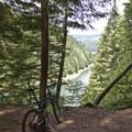 View of Lookout Point Reservoir.- Goodman Creek Trail Mountain Bike Ride