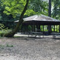 Sheltered picnic area. There are many picnic tables, but some are incredibly old and mossy.- Mary S. Young State Recreation Area