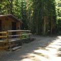 Vault toilet facilities.- Walupt Lake Campground