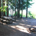 Campsite along Walupt Lake.- Walupt Lake Campground