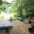 Campsite along Walupt Creek.- Walupt Lake Campground