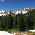 View of Goat Rocks from just above Sheep Lake.- Nannie Peak/PCT Loop Hike
