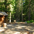Vault toilet facilities.- Walupt Lake Horse Camp