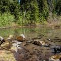 Snowmelt in a basin below Whetstone Mountain.- Whetstone Mountain Hike