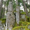 Basalt columns provide a preview of the trail to come... up and over is the route.- Ruckel Ridge Loop Hike