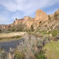 Crooked River along the River Trail looking toward Monkey Face.- Smith Rock State Park