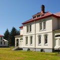 Lighthouse residences (now vacation rentals) at North Head.- Cape Disappointment State Park