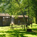 Campground cabins at the O'Neil Lake area.- Cape Disappointment State Park