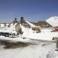 Timberline Lodge in winter.- Timberline Lodge