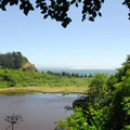 Looking out toward Cape Disappointment Lighthouse and the McKenzie Head Lagoon.- McKenzie + North Head Hiking Trails