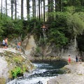 Taking the jump at Naked Falls on the Washougal River.- Naked Falls on the Washougal River