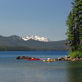 View from Waldo Lake's North Campground with Diamond Peak (8,743') in the distance.- Waldo Lake
