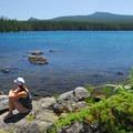 View from an island on Waldo Lake's northern edge.- Waldo Lake