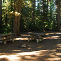 Typical double site with two picnic tables.- Waldo Lake, Shadow Bay Campground