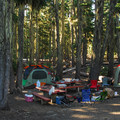 One of several 'multi-family' sites that feature two picnic tables.- Waldo Lake, North Waldo Campground