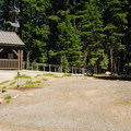 Vault toilet facilities.- Waldo Lake, North Waldo Campground