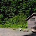 Vault toilets at Carmen Reservoir near the McKenzie River Trail.- Carmen Diversion Reservoir