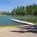 The boat ramp at Waldo Lake's Islet Campground.- Waldo Lake, Islet Campground