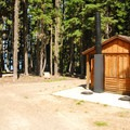 Vault toilet facilities.- Waldo Lake, Islet Campground
