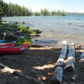 Along the shores at Waldo Lake's Islet Campground.- Waldo Lake, Islet Campground