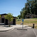 Restrooms and shower facilities at Captain William Clark Park.- Captain William Clark Park at Cottonwood Beach
