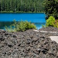 The east side of the Clear Lake Trail passes through a lava field.- Clear Lake Trail