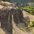 Ash pinnacles viewed from the Godfrey Glen Trail in Crater Lake National Park.- Crater Lake National Park