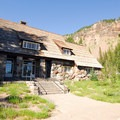 Crater Lake National Park Administrative Headquarters building.- Crater Lake National Park