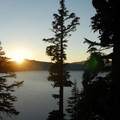 Sunset view from the Phantom Ship Overlook in Crater Lake National Park.- Crater Lake National Park