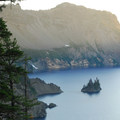 View of the Phantom Ship in Crater Lake.- Crater Lake National Park