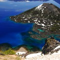 View of Wizard Island from the Watchman Overlook at Crater Lake National Park.- Crater Lake National Park