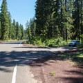 The unmarked entrance from Highway 126.- Fish Lake Campsites