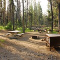 Typical campsite with bear locker.- Lost Creek Campground