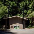 Vault toilets at Lost Prairie Campground.- Lost Prairie Campground
