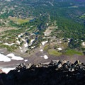 View down Broken Top's north face toward Golden Lake and Park Meadow.- Broken Top