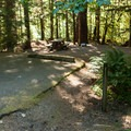 Typical site.  Reservoir access is just beyond the trees.- Mona Campground