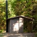 Vault toilets at Mona Campground.- Mona Campground