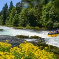A raft trip exits out the bottom of Stairstep rapid.- Middle White Salmon River