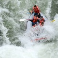 Rafters charge through the first rapid on the run with no time for warm-up.- Middle White Salmon River