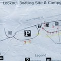 A map of Lookout Campground.- Lookout Boating Site + Campground