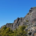 A view to the summit of Mount Si (4,167') from Haystack Basin.- Mount Si Hike