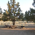 One of a few sites with two picnic tables.- Skull Hollow Campground
