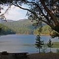 A day use site with a beautiful full lake view.- Squaw Lakes Campground