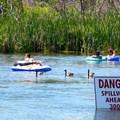 Spillway exit signs.- Deschutes River Float