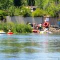 Spillway portage exit.- Deschutes River Float