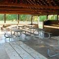 Picnic shelter at the Oak Grove Day Use Area.- Champoeg State Park